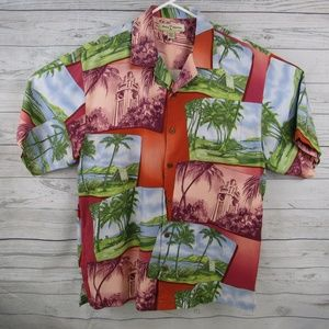 Tommy Bahama Men's Hawaiian Aloha Silk Shirt Large